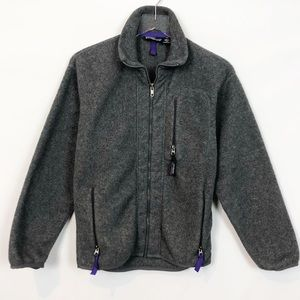 Patagonia Gray Fleece Zip Front Jacket Vintage XS